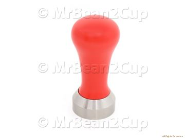 Picture of Stainless Steel Tamper Base with Red Wooden Handle (complete) 41 mm
