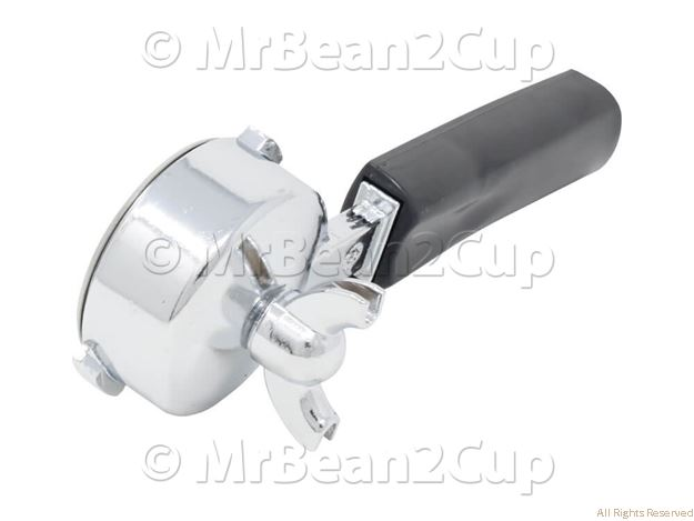 Picture of Chromed/Black Filterholder with 2 cup Pressurized basket with Double Spout