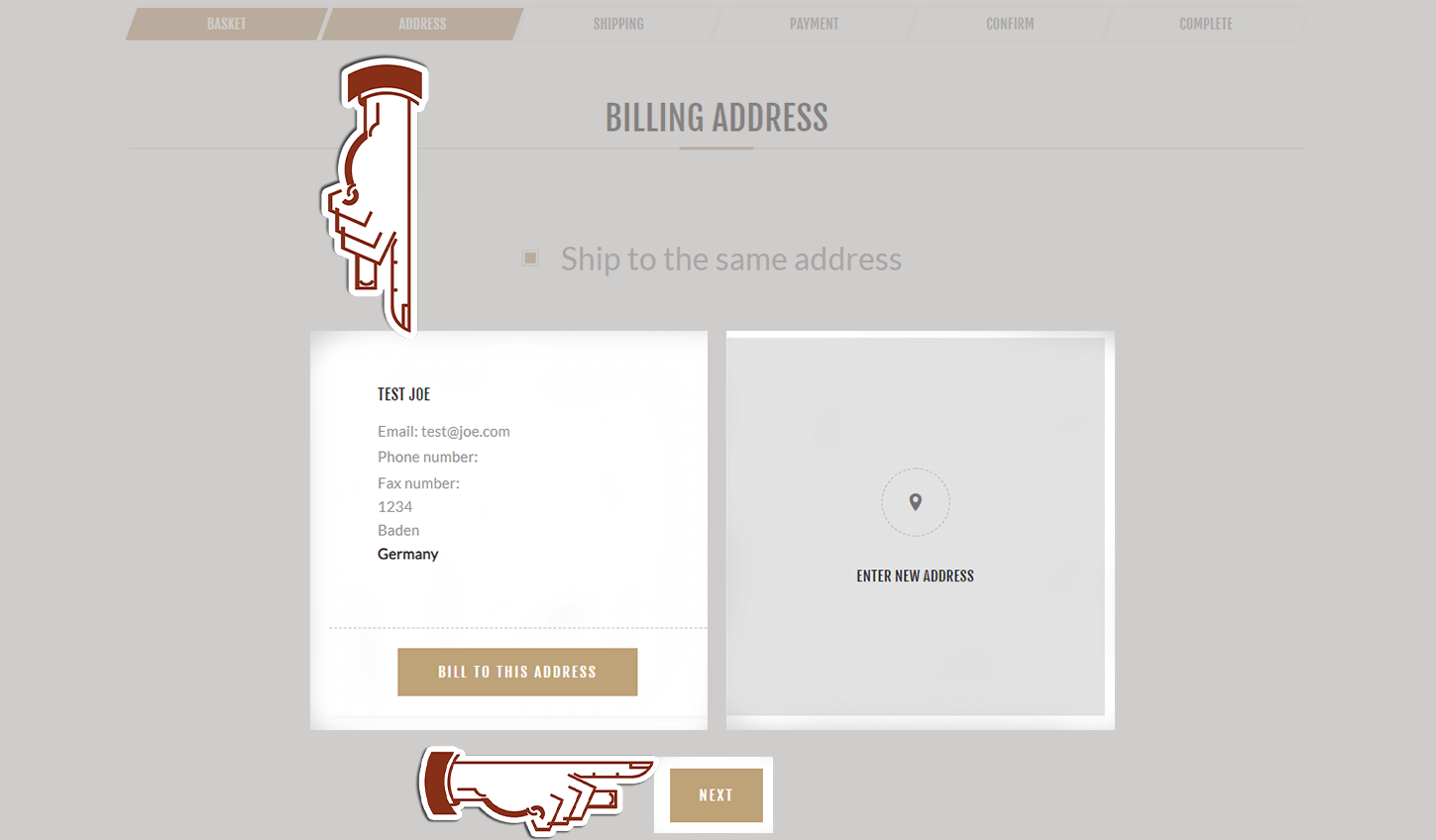 Giving billing address